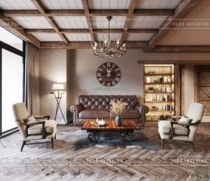 phong cách rustic trong nội thất - phòng khách