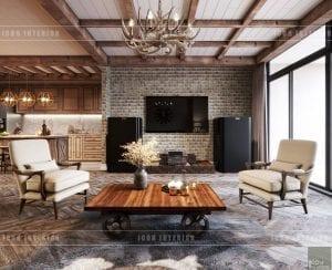 phong cách rustic trong nội thất