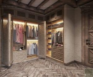 phong cách rustic trong nội thất - phòng thay đồ
