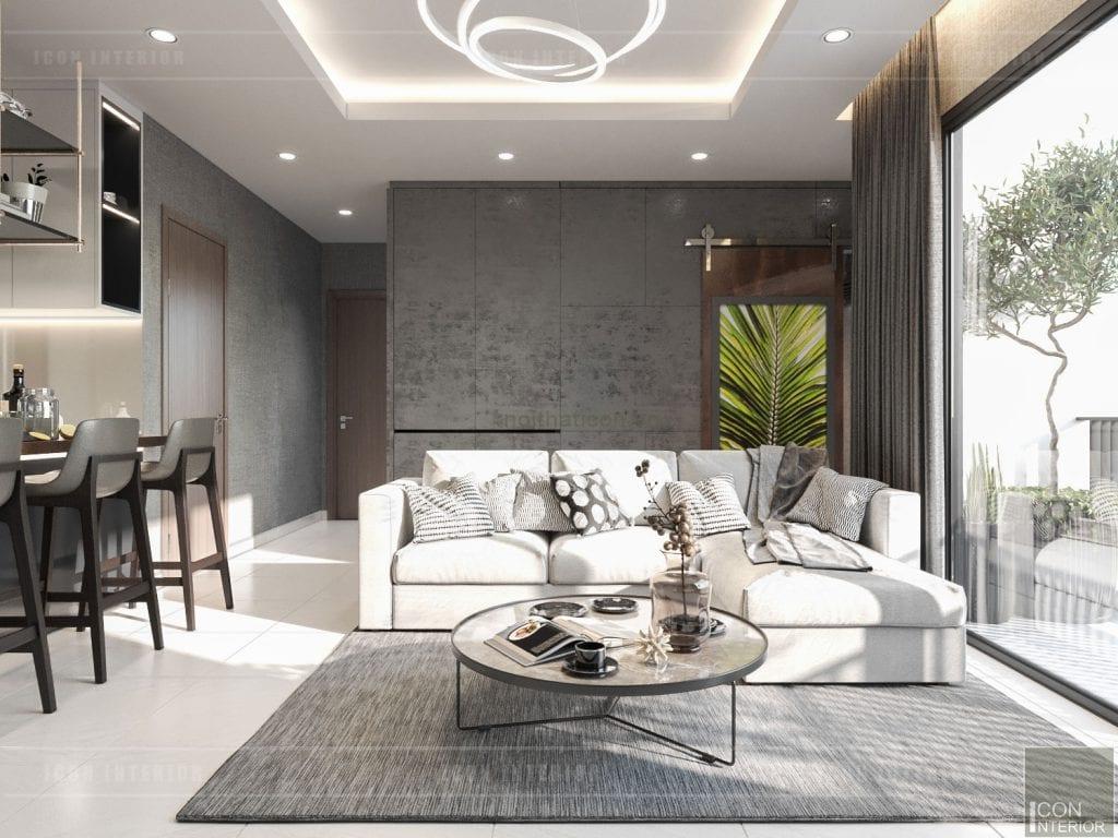 thiết kế nội thất masteri millennium - phòng khách