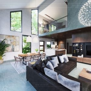 mẫu thiết kế biệt thự 2 tầng hiện đại phòng khách
