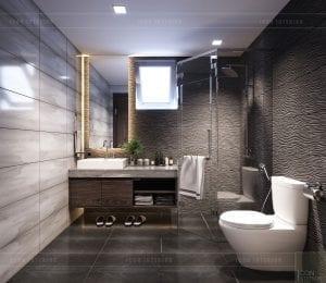 mẫu thiết kế biệt thự 2 tầng hiện đại phòng tắm tầng 1