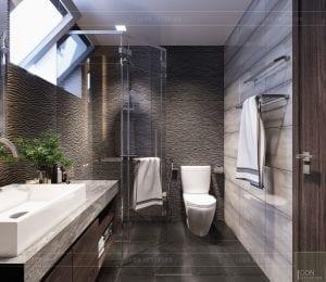 mẫu thiết kế biệt thự 2 tầng hiện đại - phòng tắm tầng 1