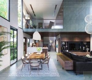 mẫu thiết kế biệt thự 2 tầng hiện đại khách bếp