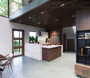 mẫu thiết kế biệt thự 2 tầng hiện đại nhà bếp