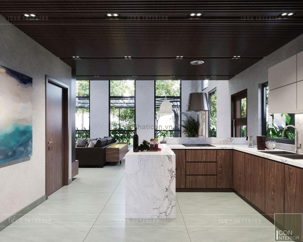 mẫu thiết kế nội thất biệt thự 2 tầng hiện đại nhà bếp
