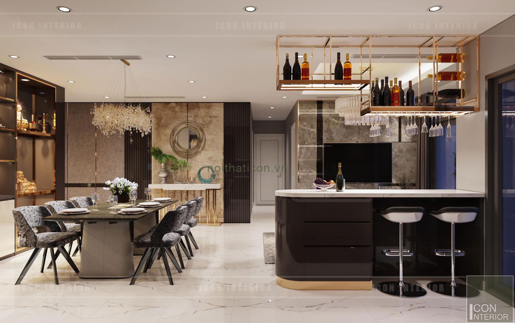 thiết kế căn hộ Landmark 6 Vinhomes Central Park - quầy bar