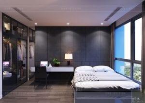 thiết kế nội thất căn hộ Landmark 6 Vinhomes Central Park - phòng ngủ nhỏ