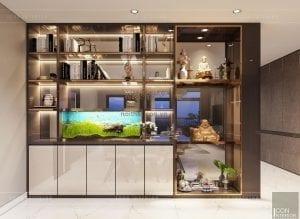 thiết kế căn hộ Landmark 6 Vinhomes Central Park - kệ tủ trang trí