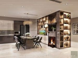 thiết kế căn hộ Landmark 6 Vinhomes Central Park - phòng ăn