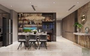 thiết kế nội thất căn hộ Landmark 6 Vinhomes Central Park - phòng ăn