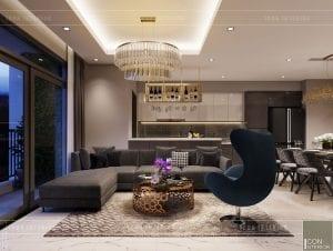 thiết kế căn hộ Landmark 6 Vinhomes Central Park - phòng khách bếp