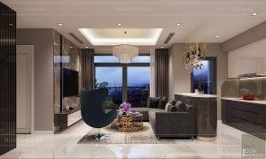 thiết kế căn hộ Landmark 6 Vinhomes Central Park - phòng khách