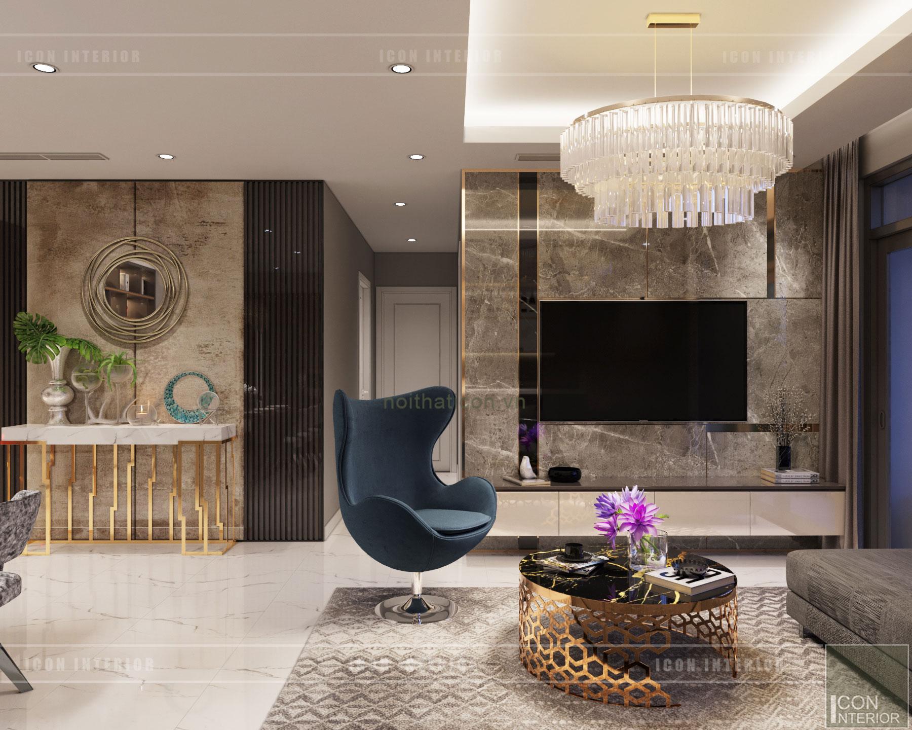 thiết kế nội thất căn hộ Landmark 6 Vinhomes Central Park - phòng khách