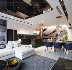 thiết kế nội thất căn hộ vinhomes ba son - phòng khách bếp 6