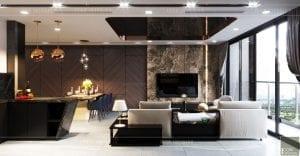 nội thất căn hộ vinhomes ba son - phòng khách bếp 1
