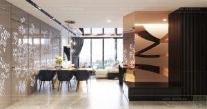 thiết kế nội thất căn hộ vinhomes ba son - phòng khách bếp 1