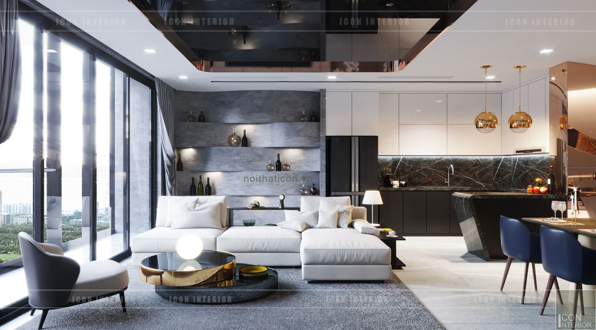 thiết kế nội thất căn hộ vinhomes ba son - phòng khách bếp 5