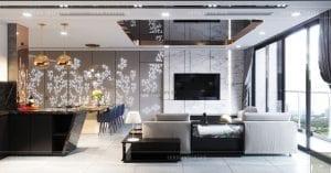 thiết kế nội thất căn hộ vinhomes ba son - phòng khách bếp 4