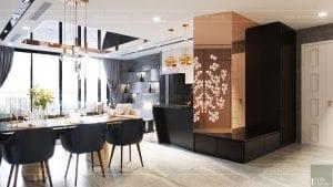 thiết kế nội thất căn hộ vinhomes ba son - phòng khách bếp 2