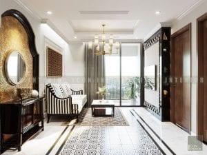 thiết kế nội thất phong cách á đông phòng khách 1