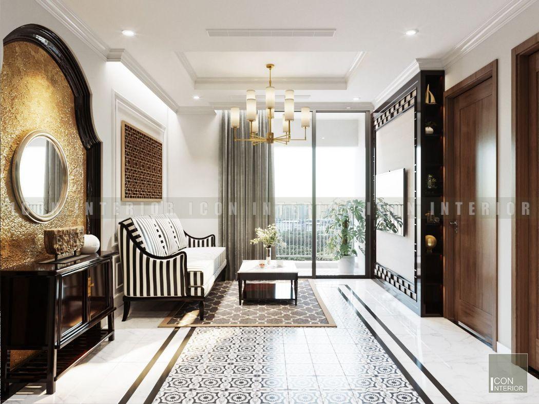 thiết kế nội thất chung cư 50m2 phong cách á đông
