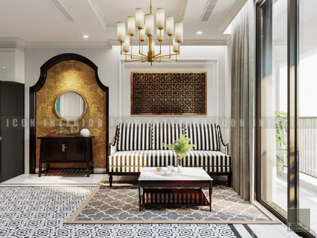 thiết kế nội thất phong cách á đông phòng khách
