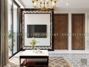 thiết kế nội thất phong cách á đông phòng khách 2