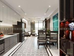 thiết kế nội thất phong cách á đông phòng khách bếp 1