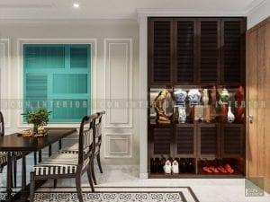 thiết kế nội thất phong cách á đông phòng khách bếp 2
