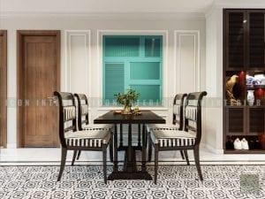 thiết kế nội thất phong cách á đông phòng ăn