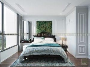 thiết kế nội thất phong cách á đông phòng ngủ master