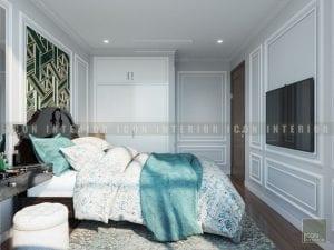 thiết kế nội thất phong cách á đông phòng ngủ master 1