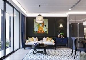 thiết kế nội thất phong cách đông dương - phòng khách