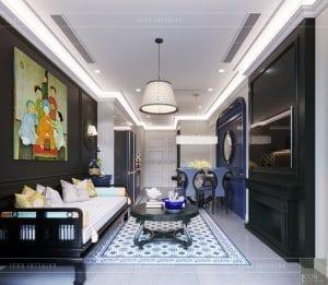 thiết kế căn hộ nội thất phong cách đông dương - phòng khách