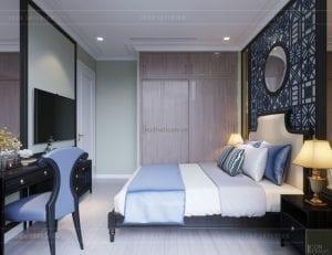 thiết kế căn hộ nội thất phong cách đông dương - phòng ngủ