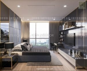 thiết kế nội thất park 5 vinhomes central park - phòng ngủ master