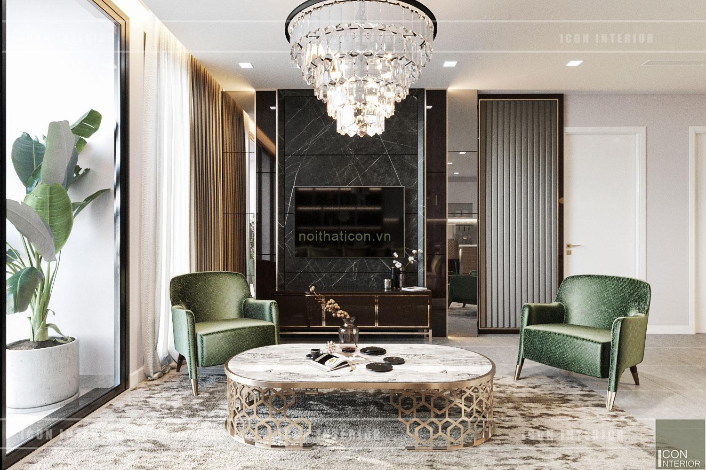 thiết kế nội thất chung cư 3 phòng ngủ - phòng khách