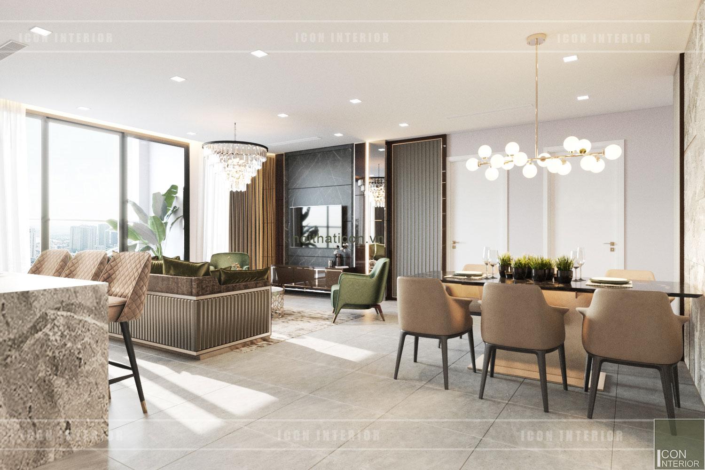 thiết kế nội thất chung cư 3 phòng ngủ - phòng khách bếp
