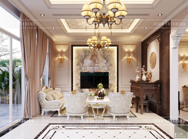 thiết kế nội thất biệt thự tân cổ điển - phòng khách