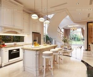 thiết kế nội thất biệt thự tân cổ điển đảo bếp