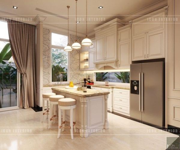 thiết kế nội thất biệt thự tân cổ điển phòng bếp