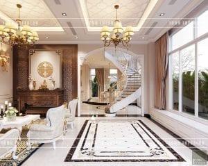 thiết kế nội thất biệt thự tân cổ điển phòng khách bếp