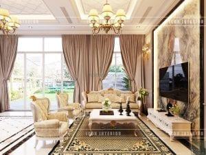 thiết kế nội thất biệt thự tân cổ điển phòng khách