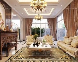 thiết kế nội thất biệt thự tân cổ điển - phòng khách bếp