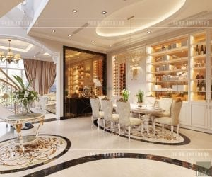 thiết kế nội thất biệt thự tân cổ điển phòng ân