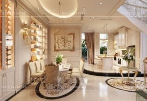 thiết kế nội thất biệt thự tân cổ điển - phòng ăn