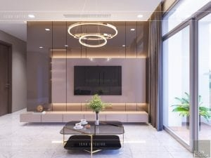 thiết kế căn hộ 2 phòng ngủ park 6 - phòng khách bếp 3