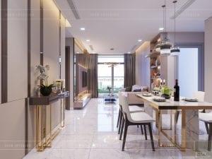 thiết kế căn hộ 2 phòng ngủ park 6 - phòng khách bếp 1