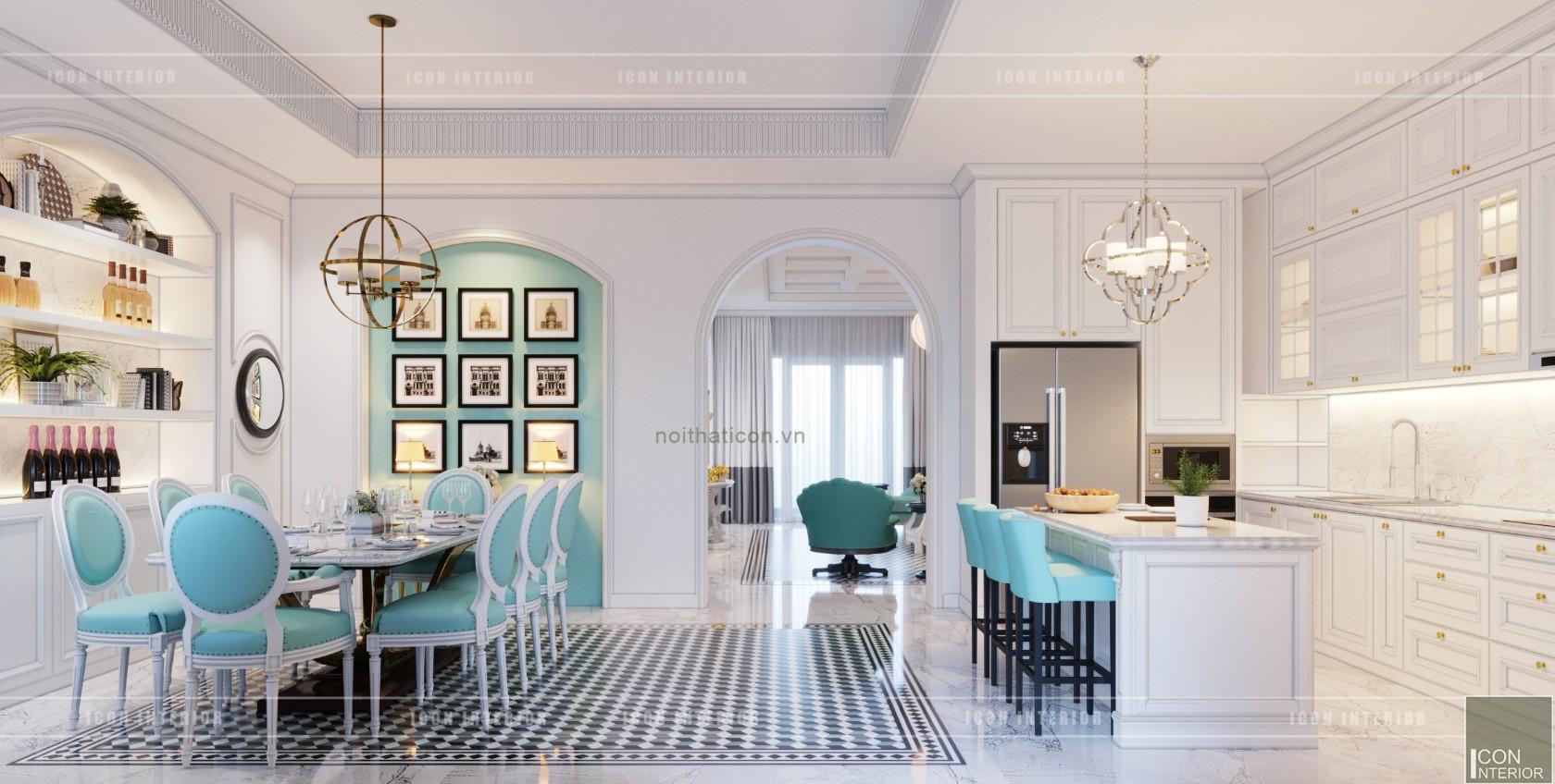 thiết kế nội thất biệt thự song lập - không gian bếp